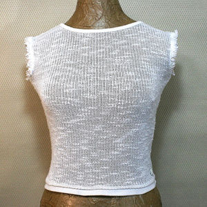 7 For All Mankind White Cropped Knit Sweater